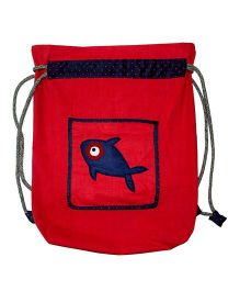 Kadambaby Kids Waterproof Drawstring Swim Or Dance Bags With Dolphin Applique Red - Length