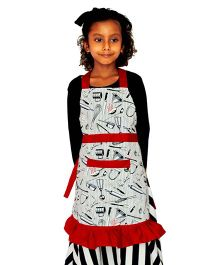 Kadambaby Multi Print Apron -  White Black And Red