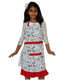 Kadambaby Art Smock Multi Print Apron -  White And Red