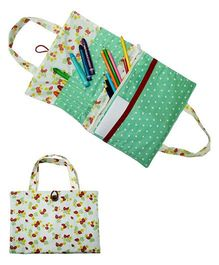 Kadambaby Art Supply Organizer Floral Print - White and Green