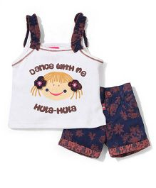 Wow Girl Singlet Top & Floral Printed Shorts Set - White Brown Navy