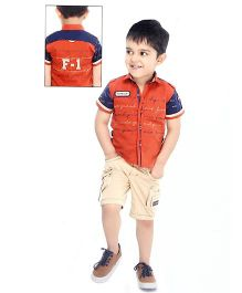 Formula 1 Half Sleeves Casual Shirt With Shorts - Orange And Cream