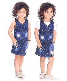 N - XT Sleeveless Denim Frock Stars Print With Inner Top - Blue And White