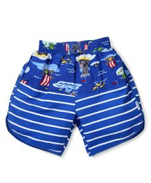 I Play Shorts With Built - In Swim Diaper - Blue & White