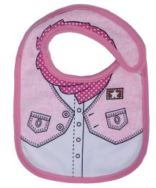 Little Hip Boutique Collar Print Bib - Pink & White