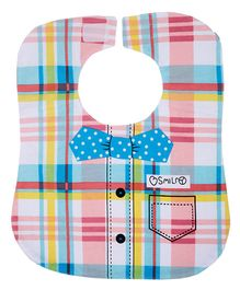 Little Hip Boutique Checkered Bib With Bow - Multicolour