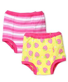 I Play Strawberry Print Pack Of 2 Diaper Pant - Pink & Yellow
