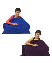 Lulamom Nursing Cover Pack of 2 - Blue And Brown
