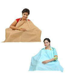 Lulamom Nursing Cover Pack of 2 - Beige And Green