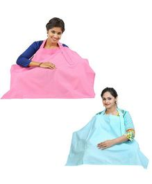 Lulamom Nursing Cover Pack of 2 - Pink And Green