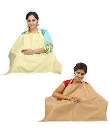 Lulamom Nursing Cover Pack of 2 - Yellow And Beige