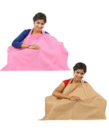 Lulamom Nursing Cover Pack of 2 - Pink And Beige