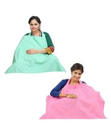 Lulamom Nursing Cover Pink Sea Green - Pack of 2