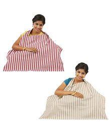 Lulamom Stripe Nursing Cover Beige Red - Pack of 2
