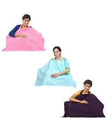 Lulamom Nursing Cover Pack of 3 - Pink Aqua Aubergine