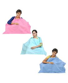 Lulamom Stripe Nursing Cover Blue Sea Green Pink - Pack of 3