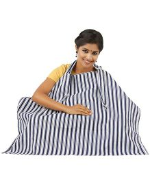 Lulamom Stripe Nursing Cover - Blue White