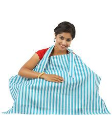 Lulamom Stripe Nursing Cover - Blue White