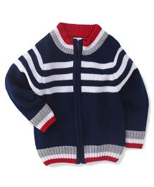 Babyhug Full Sleeves Sweater Horizontal Stripes - Navy Blue