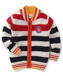 Babyhug Full Sleeves Sweater Horizontal Stripes And Badge Detail - Navy & Off White