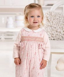 dave & bella Sleeveless One Piece Knit Padded Baby Romper Printed - Pink