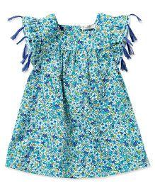 dave & bella Sleeveless Floral Print Dress - Green