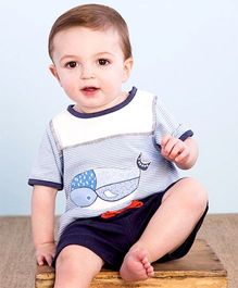 dave & bella Half Sleeves T-Shirt Whale Print And Shorts  Blue And White