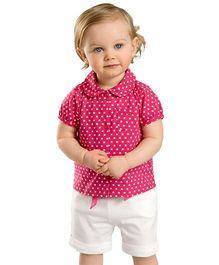dave & bella Short Sleeves Stars Print Shirt And Shorts - Pink And White