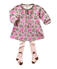 dave & bella Full Sleeves Floral Print Tunic With Stockings - Pink