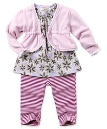 dave & bella Full Sleeves Floral Print Tunic With Stripes Leggings - Purple