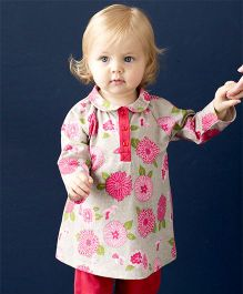 dave & bella Full Sleeves Floral Print Tunic With Stripes Leggings - White And Pink