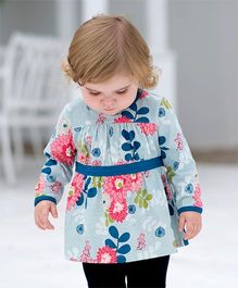 dave & bella Full Sleeves Floral Print Tunic - Blue