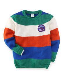 Babyhug Full Sleeves Stripes Sweater 2010 Est Champ Print - Green White Orange Blue