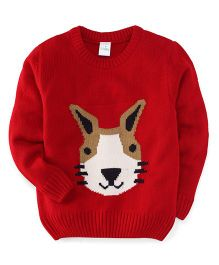 Babyhug Full Sleeves Sweater With Bunny Face Design - Red