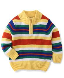Babyhug Full Sleeves Round Neck Striped Sweater - Yellow