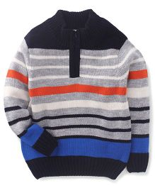 Babyhug Full Sleeves Sweater Horizontal Stripes Pattern - Grey
