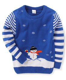 Babyhug Full Sleeves Sweater Snowman And Striped Design - Blue