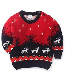 Babyhug Round Neck Sweater Reindeer Design - Red & Black