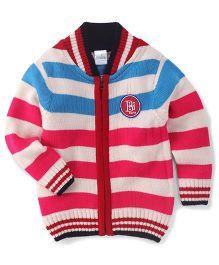Babyhug Full Sleeves Striped Sweater Badge Detail - Pink & Off White