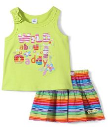 ToffyHouse Daddy Print Top & Skirt Set - Multicolor