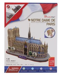 CubicFun Notre Dame De Paris France 3D Puzzle Multicolor - 128 Pieces