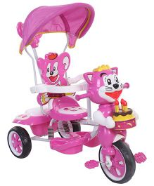 Musical Baby Tricycle Kitty Face Design - Pink & White