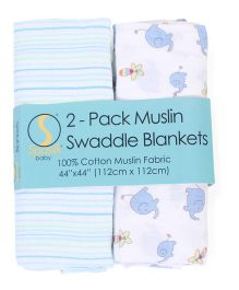 Spasilk Pack Of 2 Swaddle Blankets - White & Multicolour