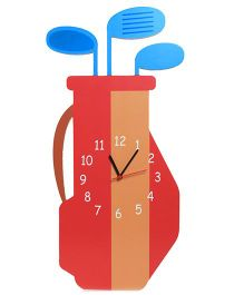 Baby Oodles Golf Kit Wall Clock - Red Orange And Blue