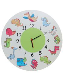 Baby Oodles Monster Theme Clock - White Multicolor