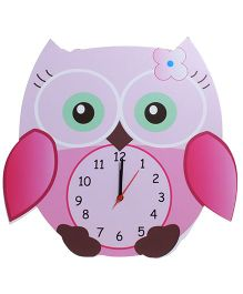 Baby Oodles Owl Wall Clock - Pink