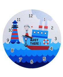Baby Oodles Sailor Theme Wall Clock - White Blue And Red