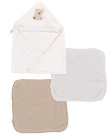 Spasilk Bear Print Hooded Towel & Wash Cloths - Off White