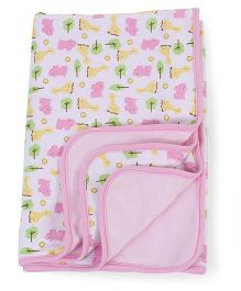 Spasilk Animal & Tree Print 2 Ply Blanket - Pink