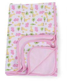 Spasilk Animal & Tree Print 2 Ply Blanket - Pink